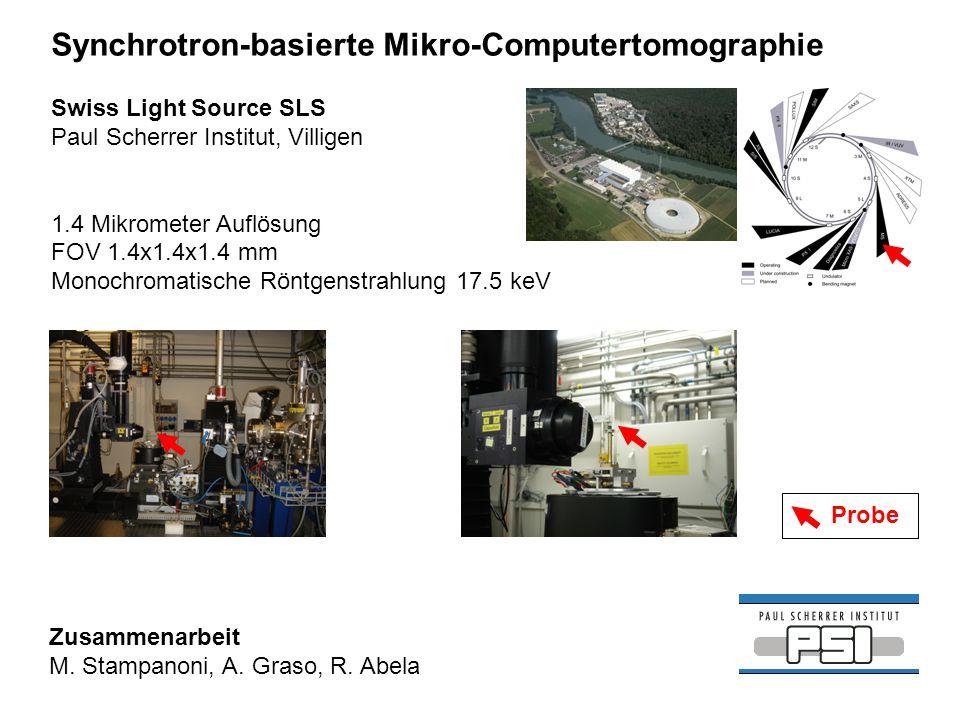 Swiss Light Source SLS Paul Scherrer Institut, Villigen 1.4 Mikrometer Auflösung FOV 1.4x1.4x1.4 mm Monochromatische Röntgenstrahlung 17.5 keV Synchro