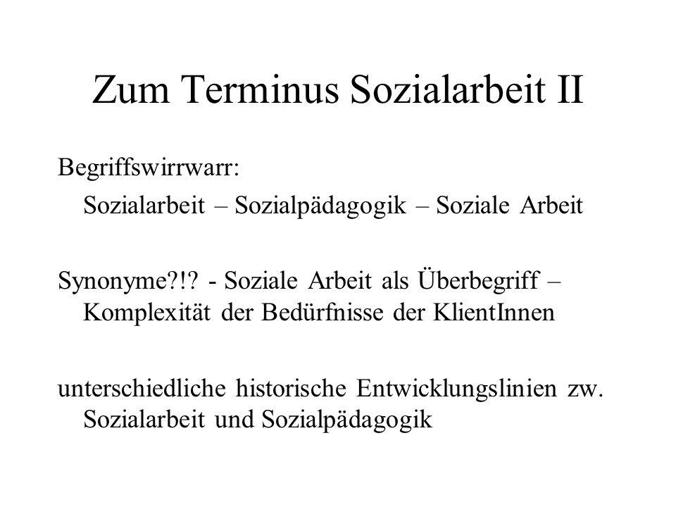 Zum Terminus Sozialarbeit II Begriffswirrwarr: Sozialarbeit – Sozialpädagogik – Soziale Arbeit Synonyme?!? - Soziale Arbeit als Überbegriff – Komplexi