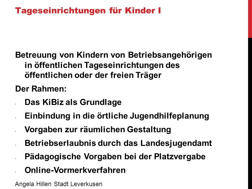 Tageseinrichtungen für Kinder II Kooperation mit bestehenden Einrichtungen durch Sicherung von Belegplätzen Der Rahmen: - Abklärung, für welche Altersgruppe (U3/Ü3) - Festlegung des Stundenumfangs - Durchgängige Finanzierung bei Nicht-Belegung - Problem: nicht immer passt jedes Kind in jede Gruppenkonstellation Angela Hillen Stadt Leverkusen