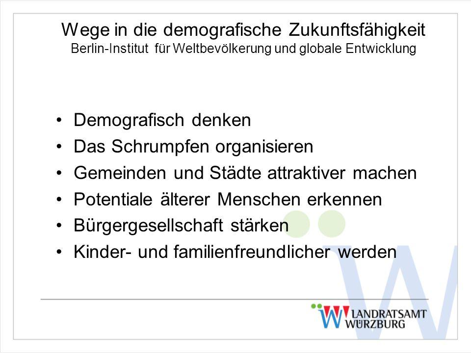 Wege in die demografische Zukunftsfähigkeit Berlin-Institut für Weltbevölkerung und globale Entwicklung Demografisch denken Das Schrumpfen organisieren Gemeinden und Städte attraktiver machen Potentiale älterer Menschen erkennen Bürgergesellschaft stärken Kinder- und familienfreundlicher werden