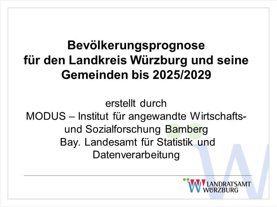 Bevölkerungsprognose für den Landkreis Würzburg und seine Gemeinden bis 2025/2029 erstellt durch MODUS – Institut für angewandte Wirtschafts- und Sozi
