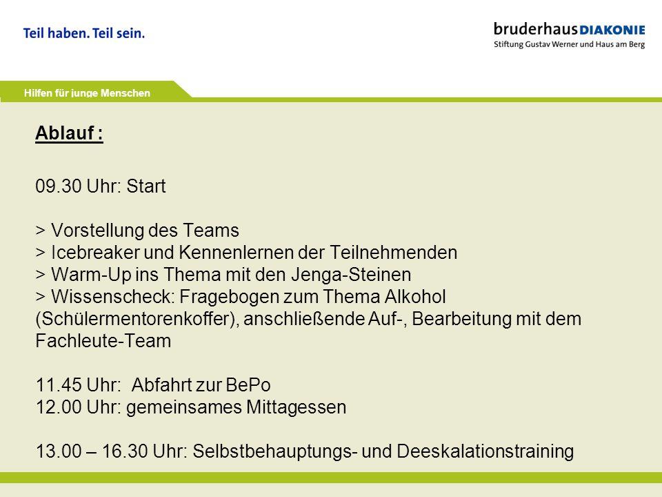 Hilfen für junge Menschen Ablauf : 09.30 Uhr: Start > Vorstellung des Teams > Icebreaker und Kennenlernen der Teilnehmenden > Warm-Up ins Thema mit de
