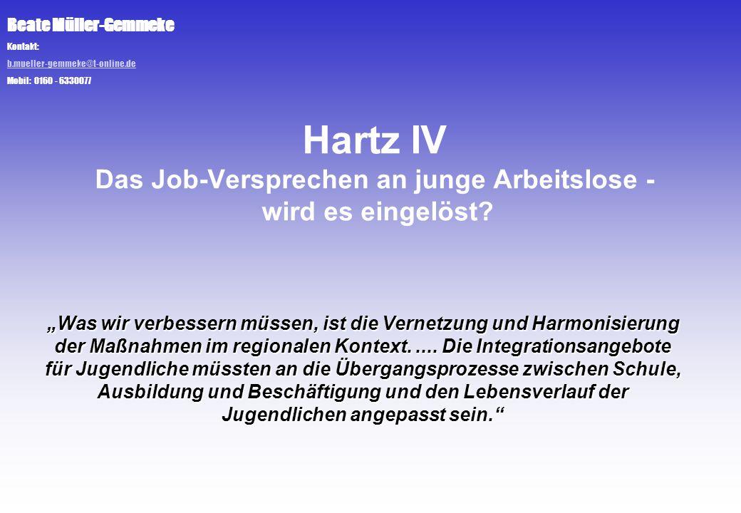 Beate Müller-Gemmeke Kontakt: b.mueller-gemmeke@t-online.de Mobil: 0160 - 6330077 Hartz IV Das Job-Versprechen an junge Arbeitslose - wird es eingelös