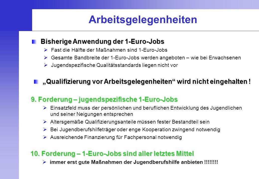 Arbeitsgelegenheiten Bisherige Anwendung der 1-Euro-Jobs  Fast die Hälfte der Maßnahmen sind 1-Euro-Jobs  Gesamte Bandbreite der 1-Euro-Jobs werden