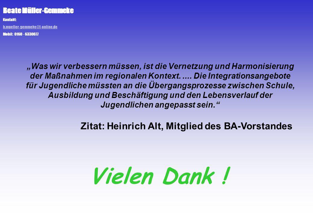"""Beate Müller-Gemmeke Kontakt: b.mueller-gemmeke@t-online.de Mobil: 0160 - 6330077 """"Was wir verbessern müssen, ist die Vernetzung und Harmonisierung de"""