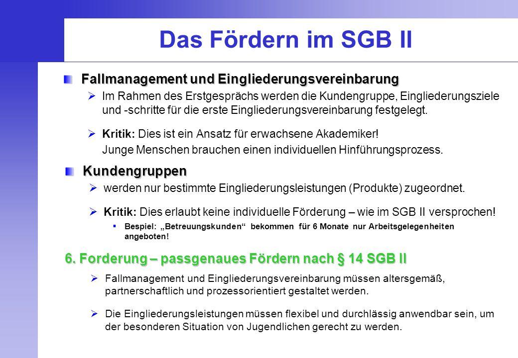 Das Fördern im SGB II Fallmanagement und Eingliederungsvereinbarung  Im Rahmen des Erstgesprächs werden die Kundengruppe, Eingliederungsziele und -sc