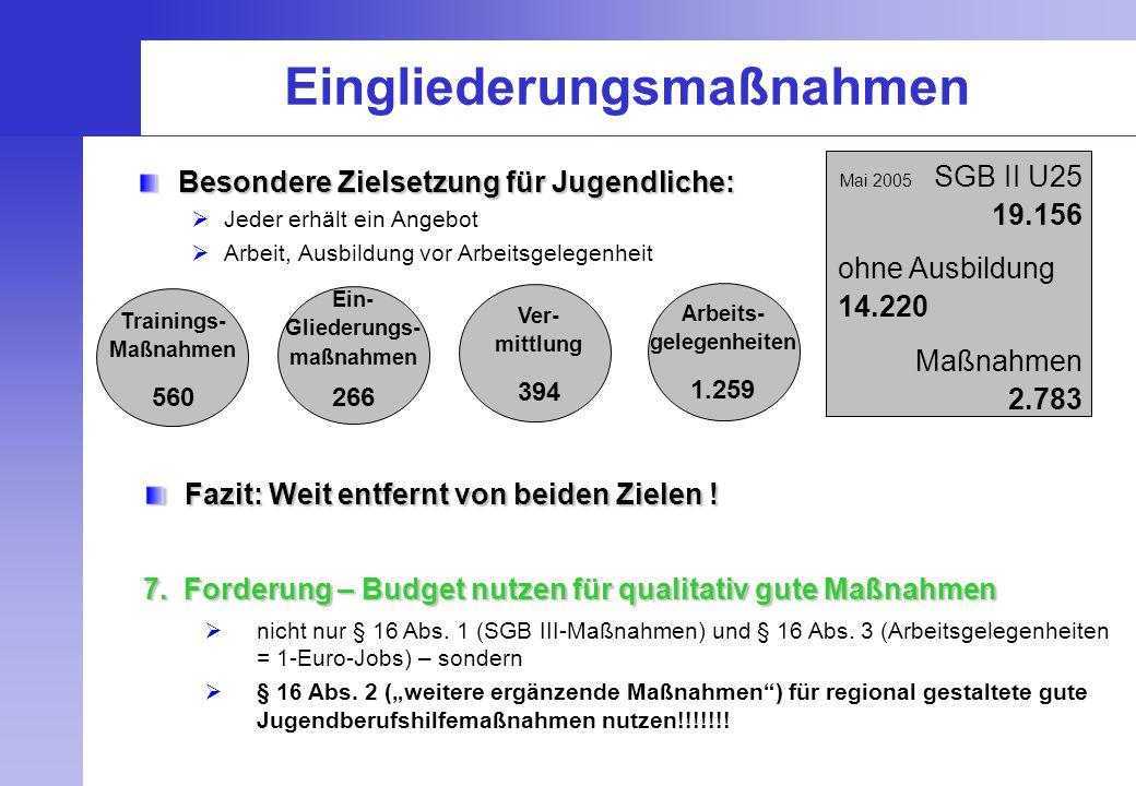 Arbeits- gelegenheiten 1.259 Eingliederungsmaßnahmen Besondere Zielsetzung für Jugendliche:  Jeder erhält ein Angebot  Arbeit, Ausbildung vor Arbeit