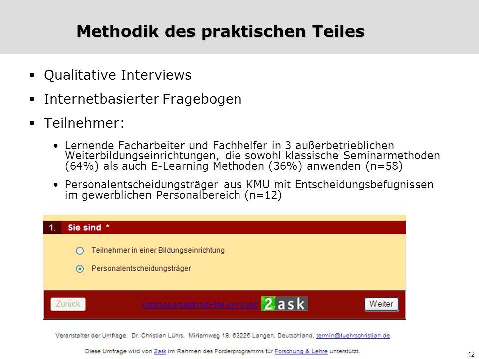 12 Methodik des praktischen Teiles  Qualitative Interviews  Internetbasierter Fragebogen  Teilnehmer: Lernende Facharbeiter und Fachhelfer in 3 auß