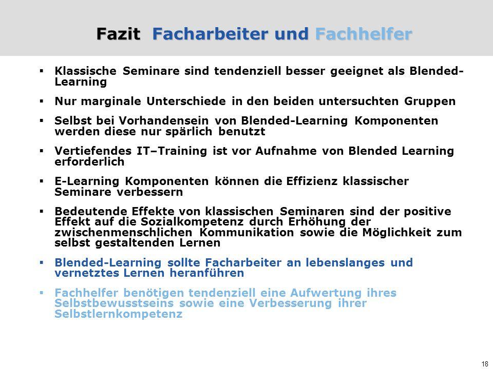 18 Fazit Facharbeiter und Fachhelfer  Klassische Seminare sind tendenziell besser geeignet als Blended- Learning  Nur marginale Unterschiede in den