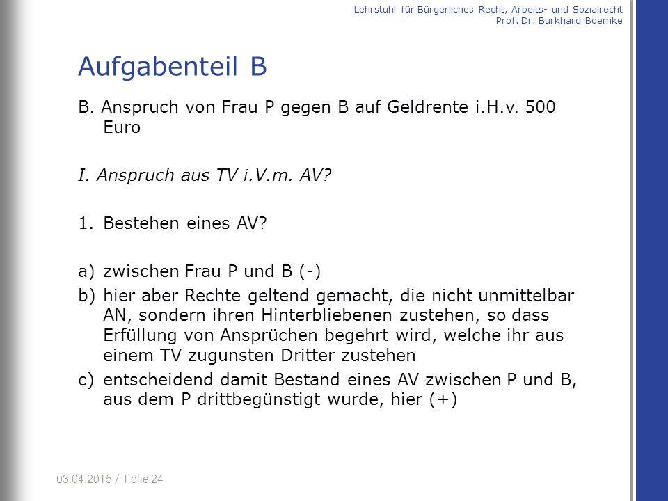 03.04.2015 / Folie 24 B. Anspruch von Frau P gegen B auf Geldrente i.H.v. 500 Euro I. Anspruch aus TV i.V.m. AV? 1.Bestehen eines AV? a)zwischen Frau
