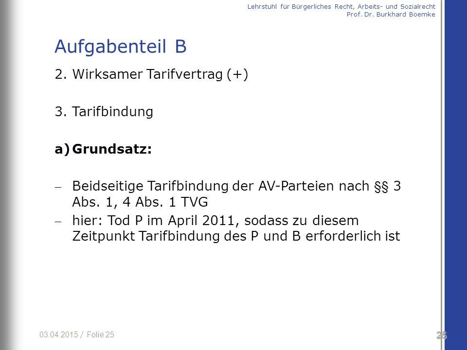 03.04.2015 / Folie 25 2. Wirksamer Tarifvertrag (+) 3. Tarifbindung a)Grundsatz: Beidseitige Tarifbindung der AV-Parteien nach §§ 3 Abs. 1, 4 Abs. 1