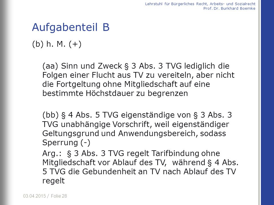 03.04.2015 / Folie 28 (b) h. M. (+) (aa) Sinn und Zweck § 3 Abs. 3 TVG lediglich die Folgen einer Flucht aus TV zu vereiteln, aber nicht die Fortgeltu