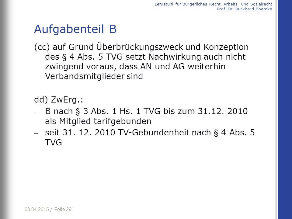 03.04.2015 / Folie 29 (cc) auf Grund Überbrückungszweck und Konzeption des § 4 Abs. 5 TVG setzt Nachwirkung auch nicht zwingend voraus, dass AN und AG