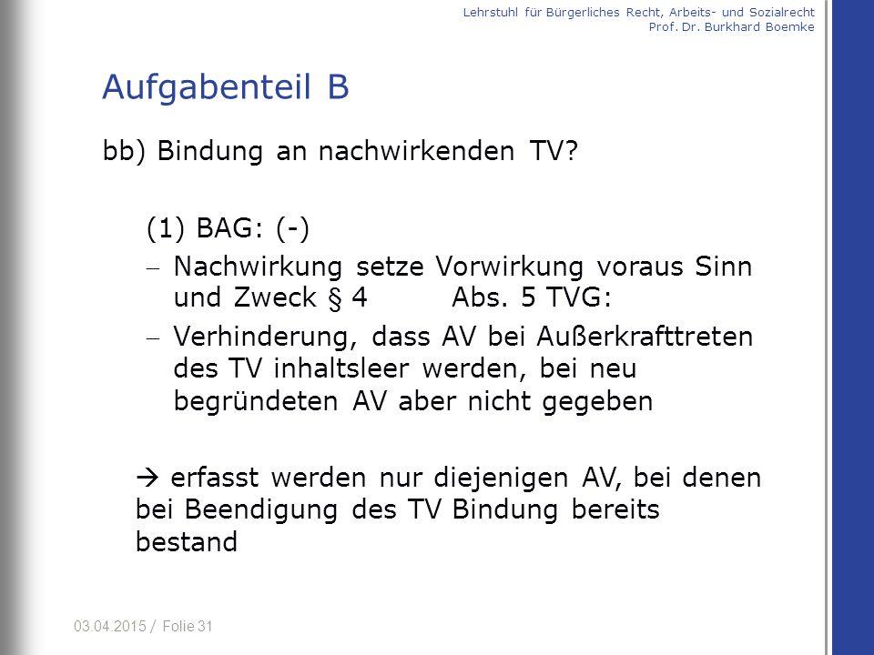 03.04.2015 / Folie 31 bb) Bindung an nachwirkenden TV? (1) BAG: (-) Nachwirkung setze Vorwirkung voraus Sinn und Zweck § 4 Abs. 5 TVG: Verhinderung,