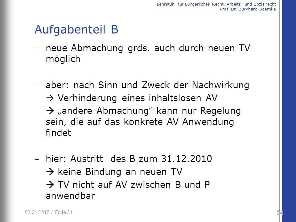 03.04.2015 / Folie 34 neue Abmachung grds. auch durch neuen TV möglich aber: nach Sinn und Zweck der Nachwirkung  Verhinderung eines inhaltslosen A