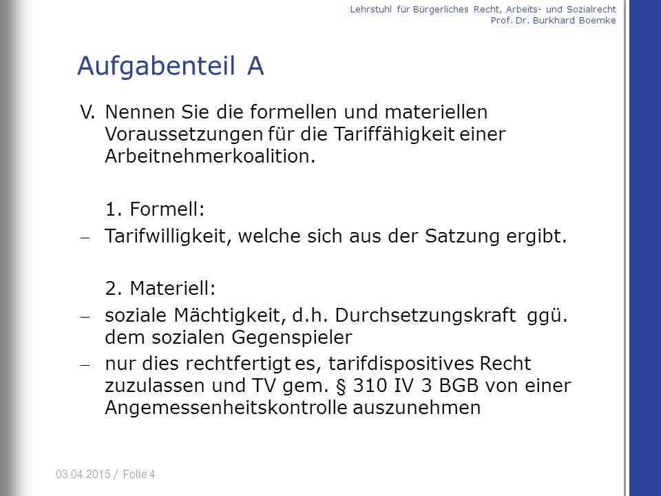 03.04.2015 / Folie 5 VI.Wer ist Träger des Grundrechts auf Koalitionsfreiheit.