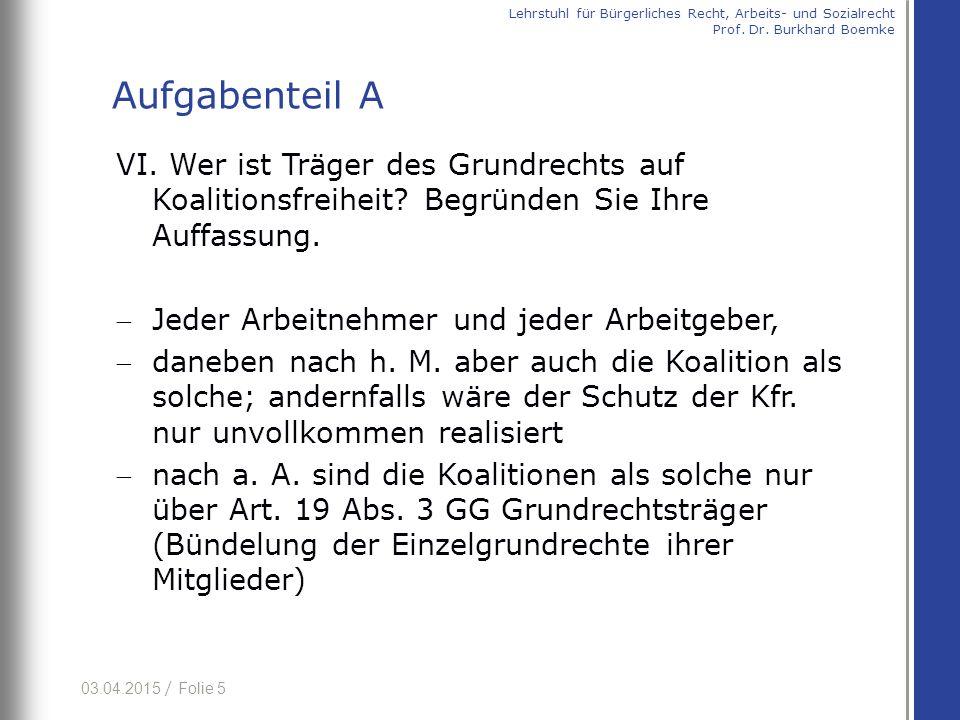 03.04.2015 / Folie 6 VII.Wird die negative Koalitionsfreiheit durch Art.