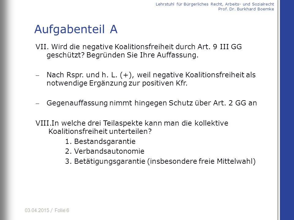03.04.2015 / Folie 27 dd) Tarifbindung auf Grund Nachwirkung nach § 4 Abs.
