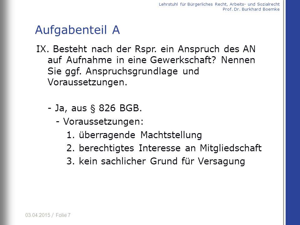 03.04.2015 / Folie 28 (b) h.M. (+) (aa) Sinn und Zweck § 3 Abs.