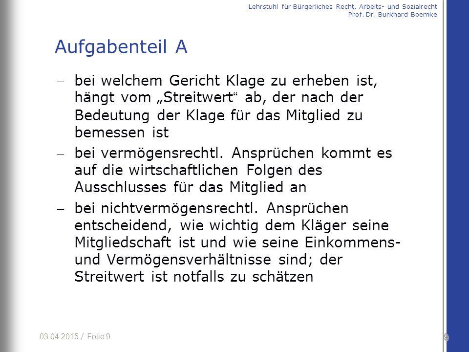 03.04.2015 / Folie 10 § 247 I AktG nicht entsprechend anwendbar bis zu einem Streitwert von 5000 € ist Amtsgericht zuständig (§ 23 Nr.