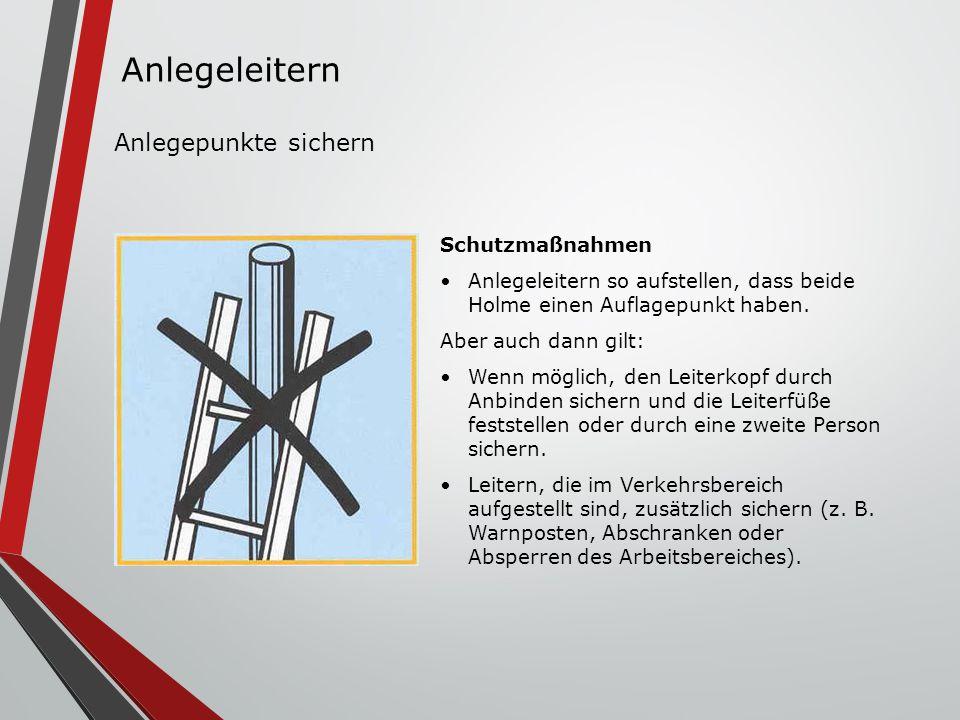 Schutzmaßnahmen Anlegeleitern so aufstellen, dass beide Holme einen Auflagepunkt haben. Aber auch dann gilt: Wenn möglich, den Leiterkopf durch Anbind