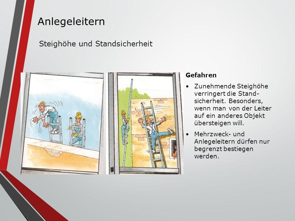 Gefahren Zunehmende Steighöhe verringert die Stand- sicherheit. Besonders, wenn man von der Leiter auf ein anderes Objekt übersteigen will. Mehrzweck-