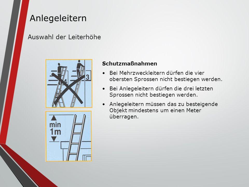 Schutzmaßnahmen Bei Mehrzweckleitern dürfen die vier obersten Sprossen nicht bestiegen werden. Bei Anlegeleitern dürfen die drei letzten Sprossen nich