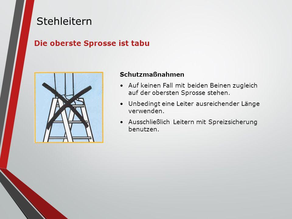 Schutzmaßnahmen Auf keinen Fall mit beiden Beinen zugleich auf der obersten Sprosse stehen. Unbedingt eine Leiter ausreichender Länge verwenden. Aussc