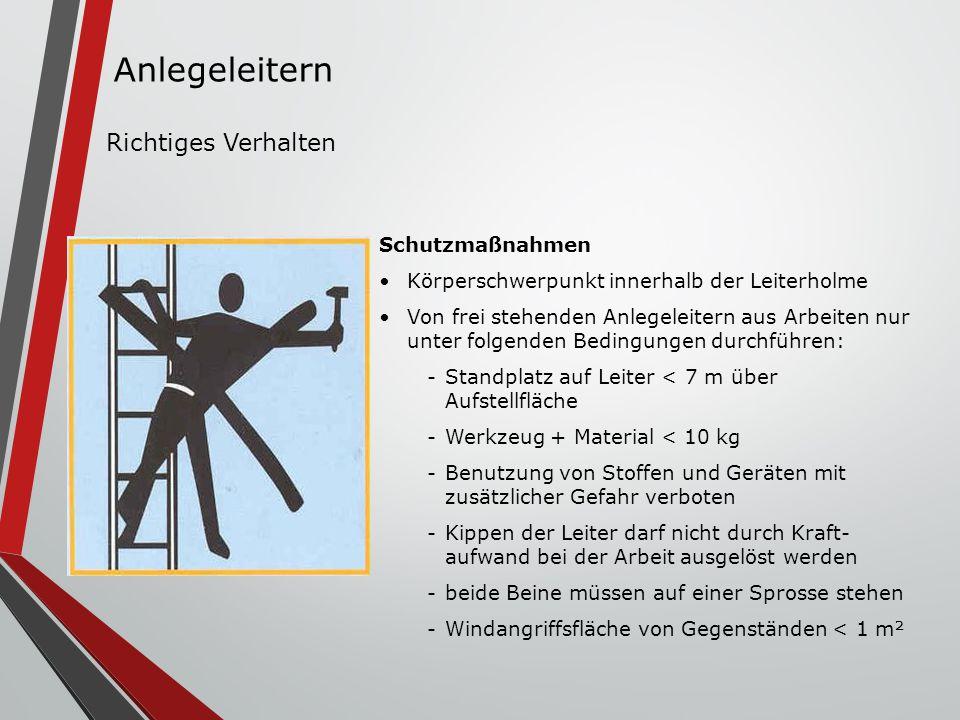 Schutzmaßnahmen Körperschwerpunkt innerhalb der Leiterholme Von frei stehenden Anlegeleitern aus Arbeiten nur unter folgenden Bedingungen durchführen:
