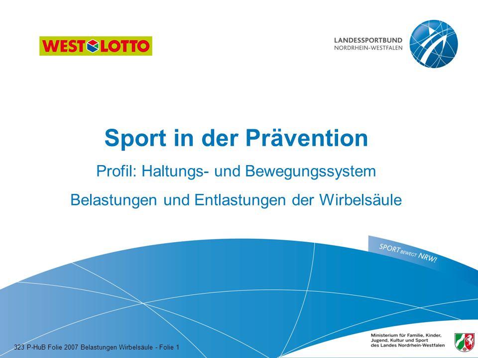 Sport in der Prävention Profil: Haltungs- und Bewegungssystem Belastungen und Entlastungen der Wirbelsäule 323 P-HuB Folie 2007 Belastungen Wirbelsäul