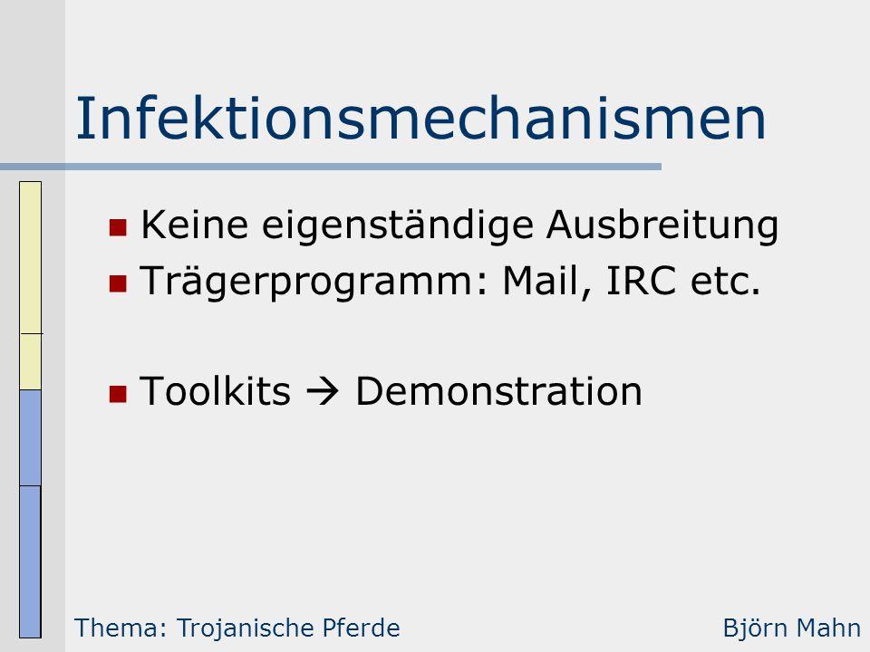 Infektionsmechanismen Keine eigenständige Ausbreitung Trägerprogramm: Mail, IRC etc. Toolkits  Demonstration Thema: Trojanische PferdeBjörn Mahn