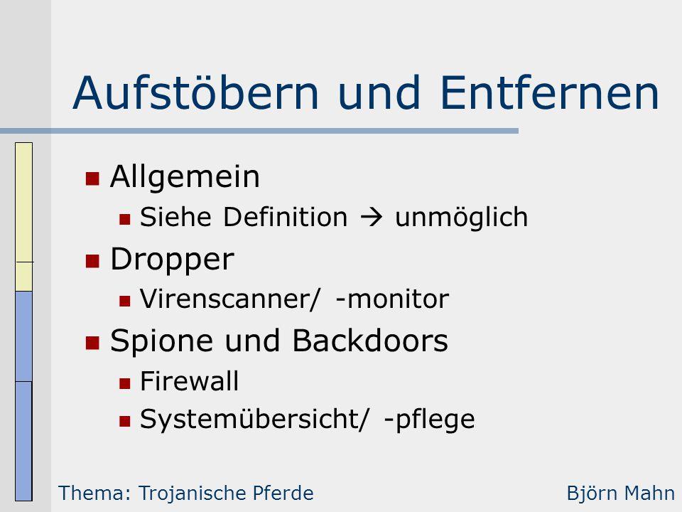 Aufstöbern und Entfernen Allgemein Siehe Definition  unmöglich Dropper Virenscanner/ -monitor Spione und Backdoors Firewall Systemübersicht/ -pflege