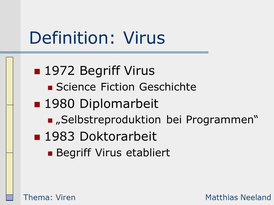 """Definition: Virus 1972 Begriff Virus Science Fiction Geschichte 1980 Diplomarbeit """"Selbstreproduktion bei Programmen"""" 1983 Doktorarbeit Begriff Virus"""