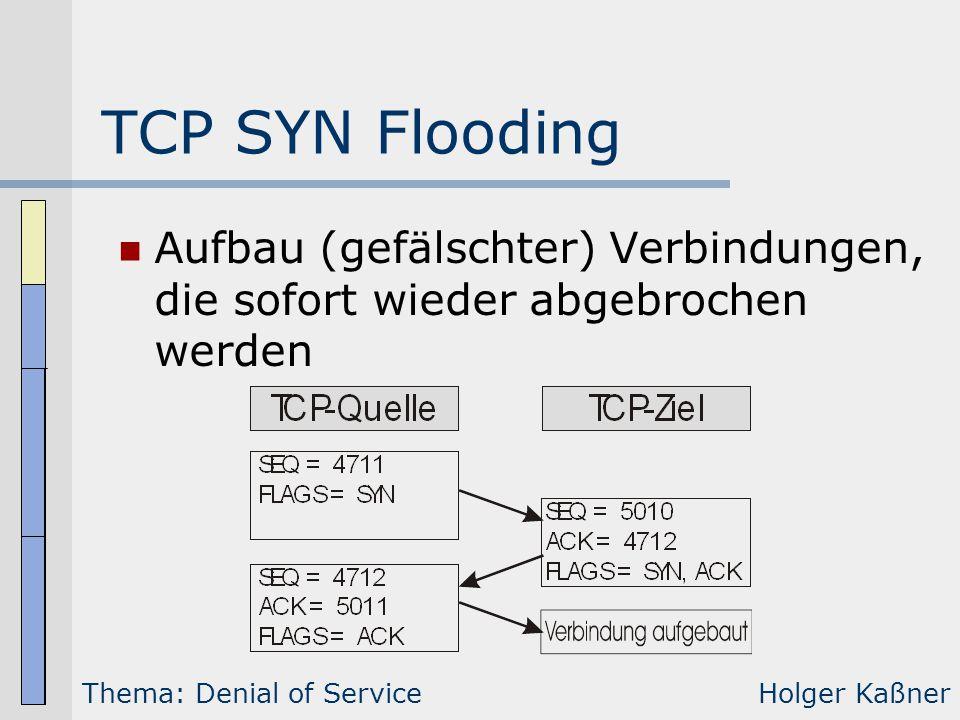 TCP SYN Flooding Aufbau (gefälschter) Verbindungen, die sofort wieder abgebrochen werden Thema: Denial of ServiceHolger Kaßner