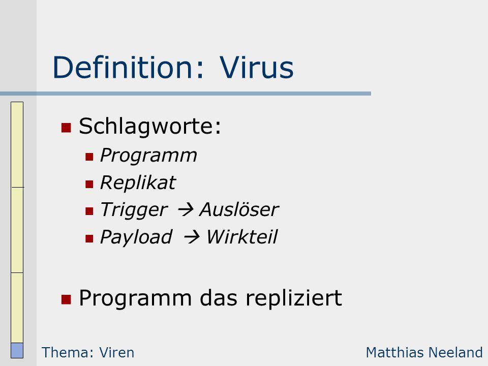 Definition: Virus Schlagworte: Programm Replikat Trigger  Auslöser Payload  Wirkteil Programm das repliziert Thema: VirenMatthias Neeland