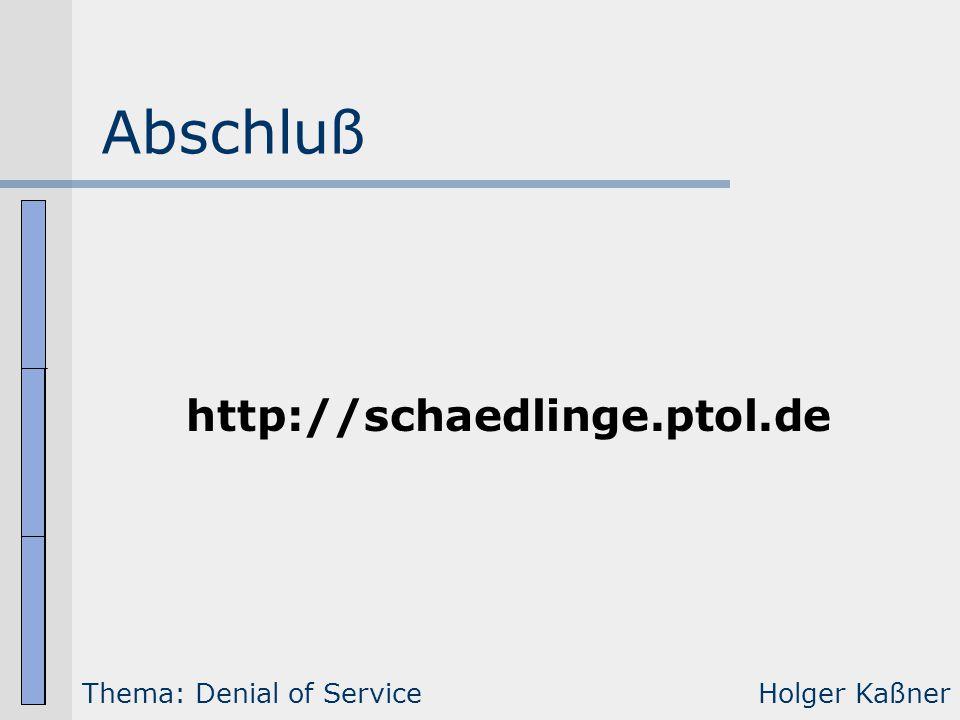 Abschluß Thema: Denial of ServiceHolger Kaßner http://schaedlinge.ptol.de
