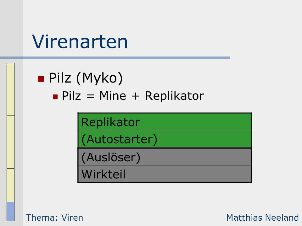 Virenarten Wurm Makro-/Dokumentenvirus Systemviren Boot-Viren  Boot-Sektor-Viren...