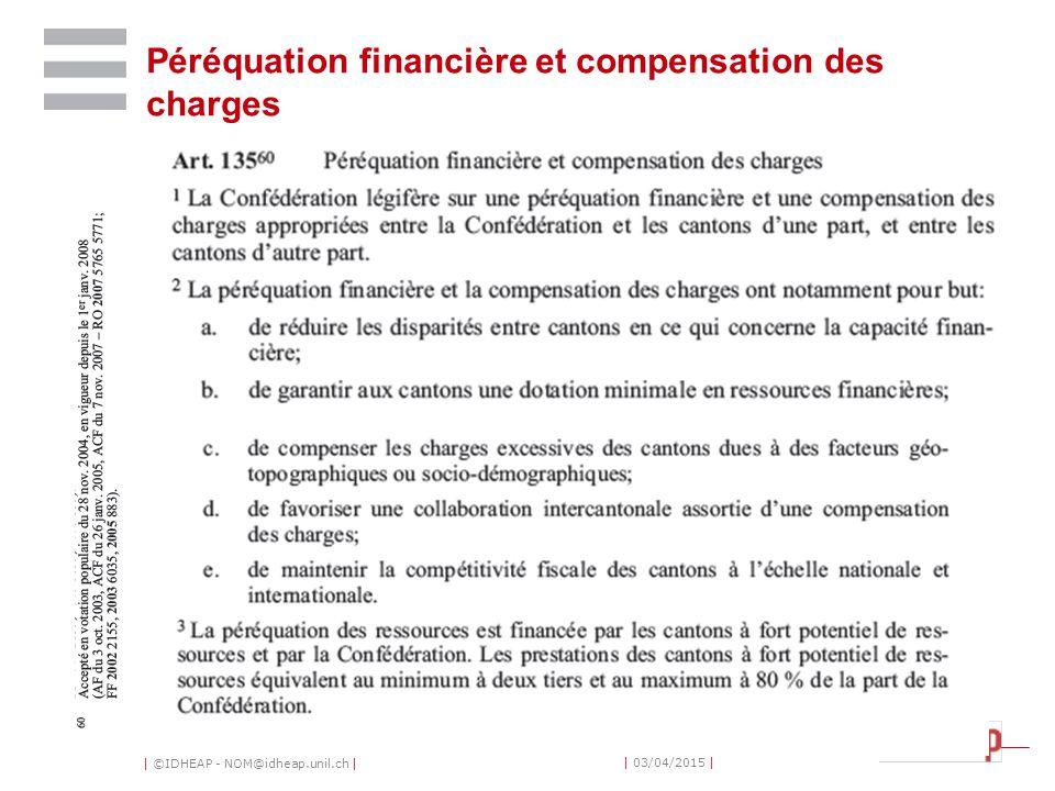 | ©IDHEAP - NOM@idheap.unil.ch | | 03/04/2015 | Péréquation financière et compensation des charges