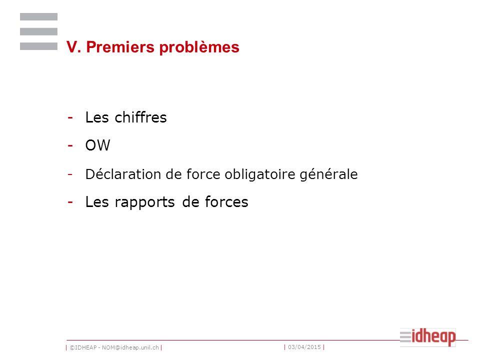 | ©IDHEAP - NOM@idheap.unil.ch | | 03/04/2015 | V. Premiers problèmes -Les chiffres -OW -Déclaration de force obligatoire générale -Les rapports de fo
