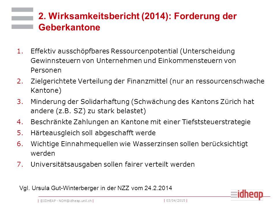 | ©IDHEAP - NOM@idheap.unil.ch | | 03/04/2015 | 2. Wirksamkeitsbericht (2014): Forderung der Geberkantone 1.Effektiv ausschöpfbares Ressourcenpotentia