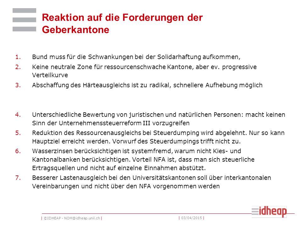 | ©IDHEAP - NOM@idheap.unil.ch | | 03/04/2015 | Reaktion auf die Forderungen der Geberkantone 1.Bund muss für die Schwankungen bei der Solidarhaftung