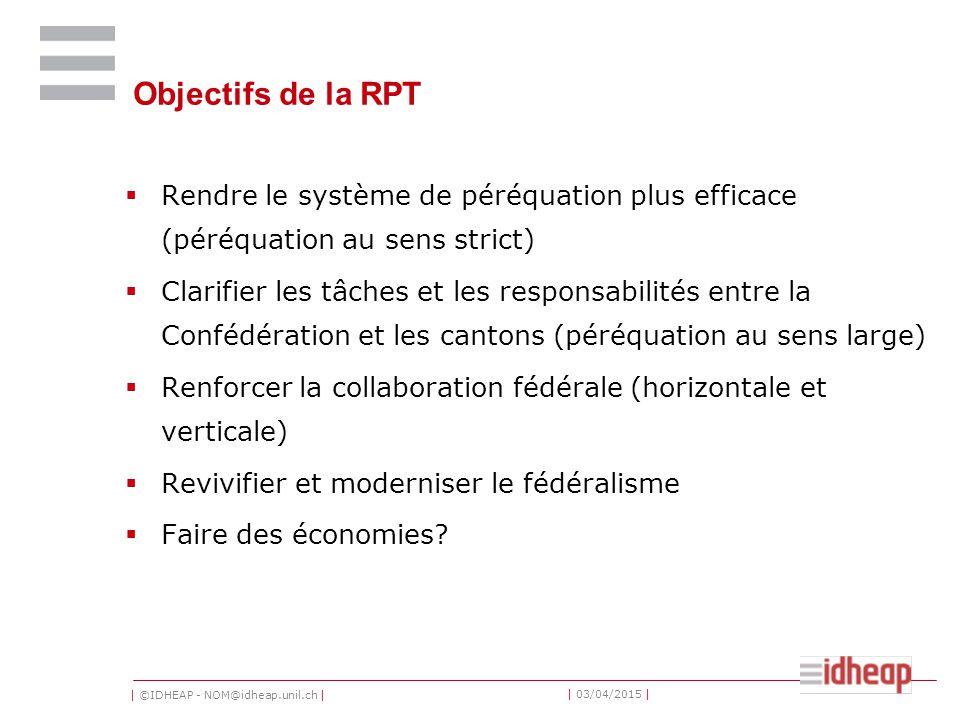 | ©IDHEAP - NOM@idheap.unil.ch | | 03/04/2015 | Objectifs de la RPT  Rendre le système de péréquation plus efficace (péréquation au sens strict)  Cl