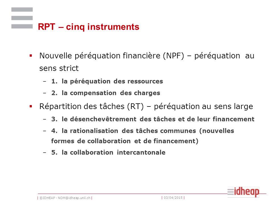 | ©IDHEAP - NOM@idheap.unil.ch | | 03/04/2015 | RPT – cinq instruments  Nouvelle péréquation financière (NPF) – péréquation au sens strict –1. la pér