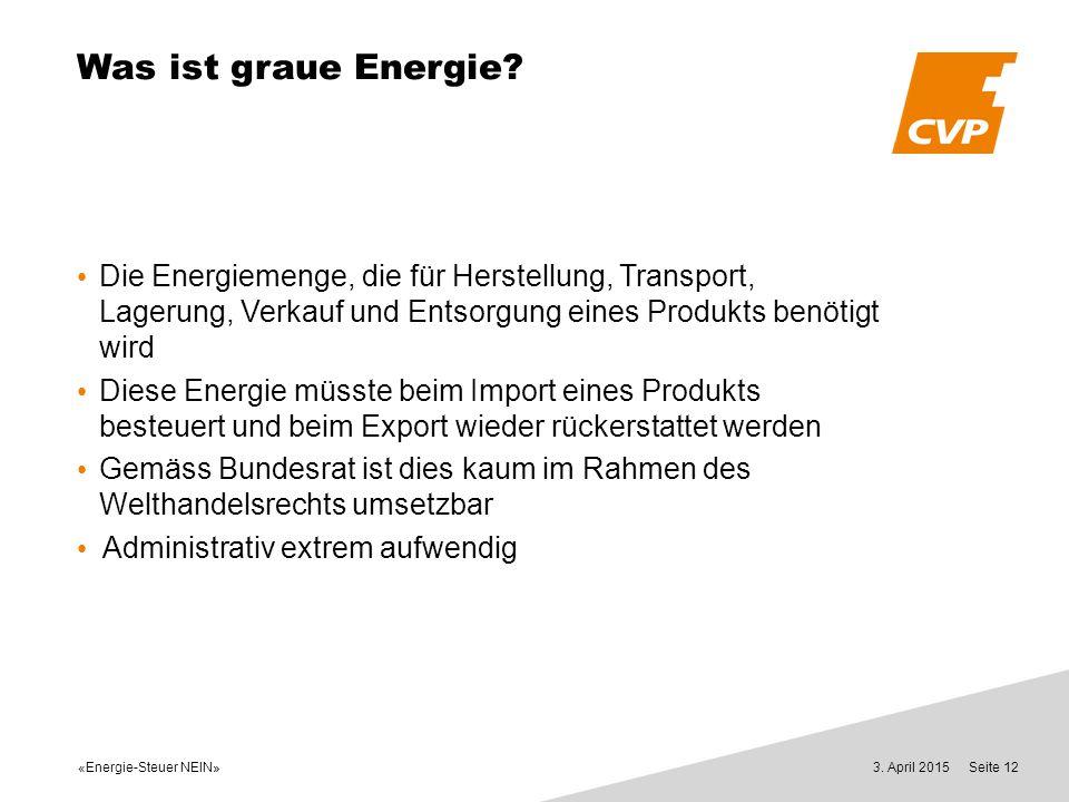 «Energie-Steuer NEIN» 3. April 2015Seite 12 Was ist graue Energie? Die Energiemenge, die für Herstellung, Transport, Lagerung, Verkauf und Entsorgung