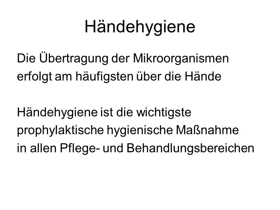 Händehygiene beinhaltet: Händewaschen Hygienische Händedesinfektion Chirurgische Händedesinfektion Tragen von Schutzhandschuhen Tragen von sterilen Handschuhen Nagelpflege / Hautpflege / -schutz