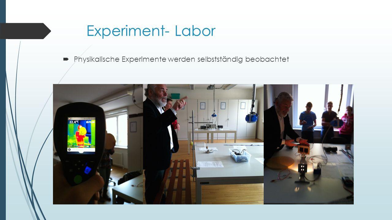 Experiment- Labor  Physikalische Experimente werden selbstständig beobachtet