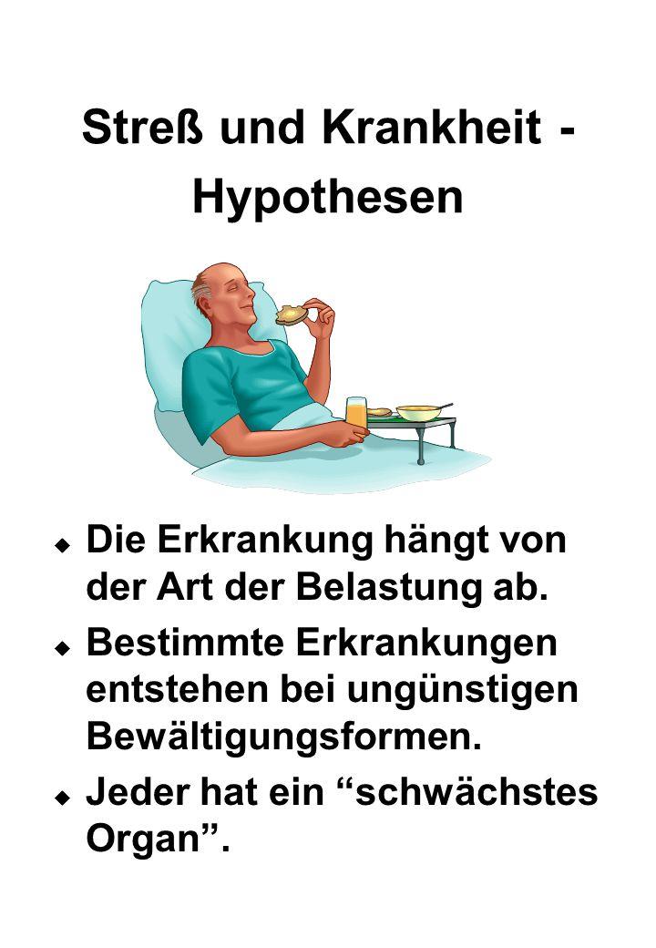 Streß und Krankheit - Hypothesen  Die Erkrankung hängt von der Art der Belastung ab.  Bestimmte Erkrankungen entstehen bei ungünstigen Bewältigungsf
