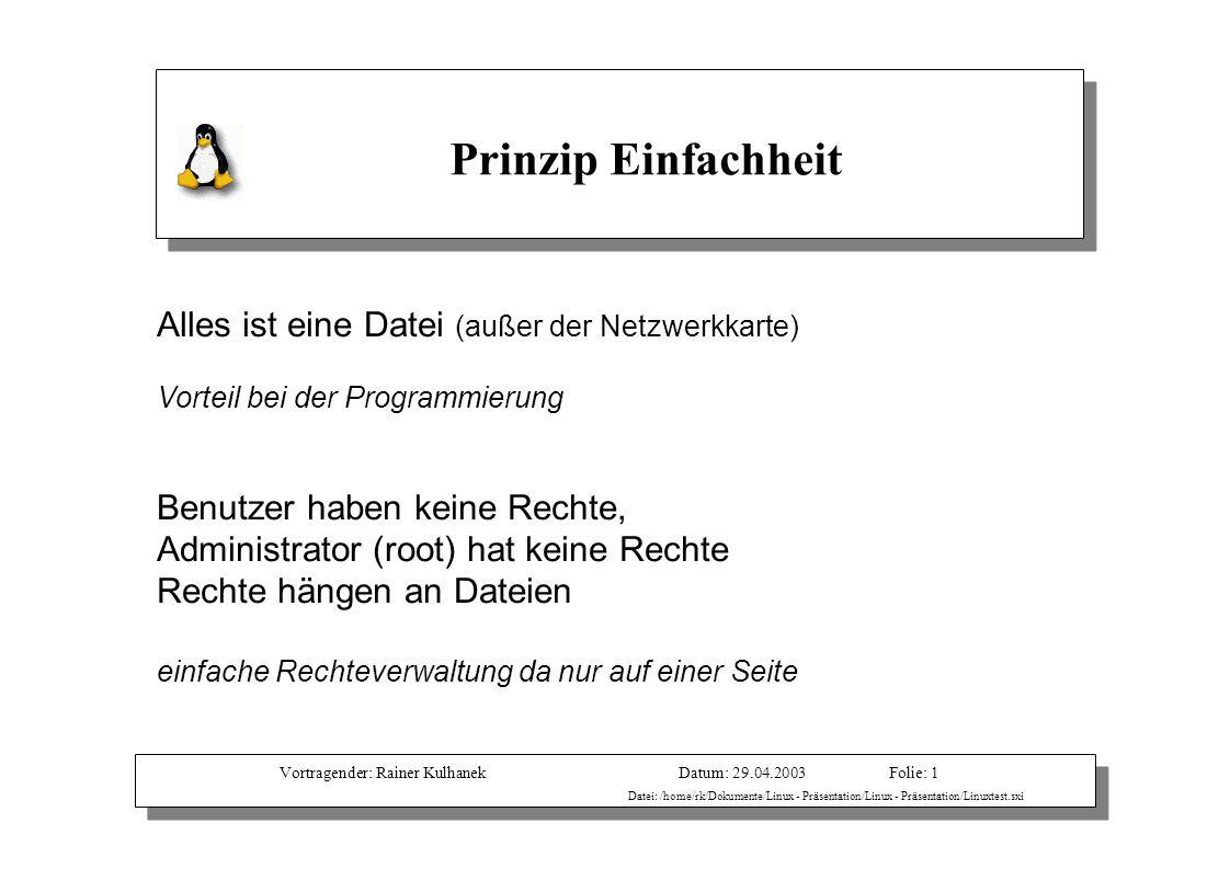 Vortragender: Rainer KulhanekDatum: 29.04.2003 Datei: /home/rk/Dokumente/Linux - Präsentation/Linux - Präsentation/Linuxtest.sxi Folie: 1 Alles ist ei
