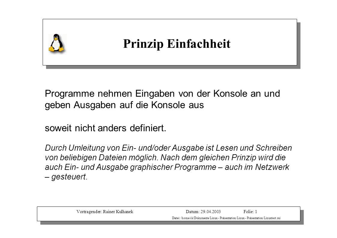 Vortragender: Rainer KulhanekDatum: 29.04.2003 Datei: /home/rk/Dokumente/Linux - Präsentation/Linux - Präsentation/Linuxtest.sxi Folie: 1 Programme ne