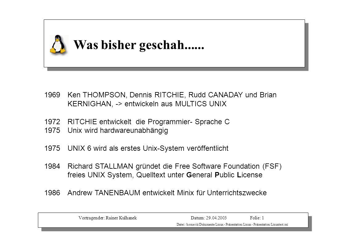 Vortragender: Rainer KulhanekDatum: 29.04.2003 Datei: /home/rk/Dokumente/Linux - Präsentation/Linux - Präsentation/Linuxtest.sxi Folie: 1 Was bisher g